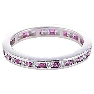 Marhaba 18kt Solid White Gold Diamond Pink Sapphire Ring [K1118728-7.5]