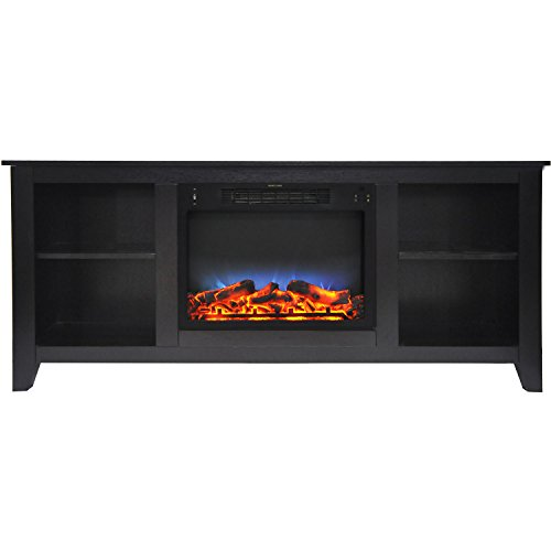 Fireplace Santa Monica - Cambridge CAM6226-1COFLED Santa Monica 63 In. Electric Fireplace & Entertainment Stand in Black Coffee w/ Multi-Color LED Insert