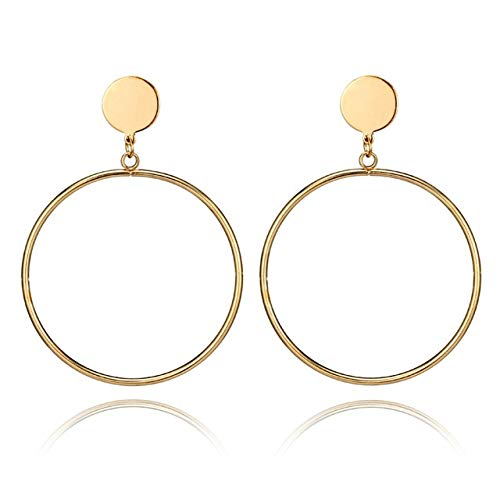 Jewels Galaxy Contemporary Brass and Crystal Hoop Earrings for Women & Girls