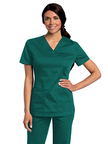 Landau All Day Women's Modern Fit Y-Neck Scrub Tunic Hunter S