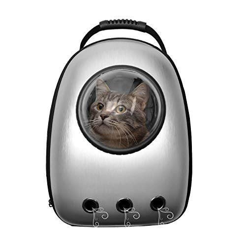 Oranlife Pet Carrier Portable Backpack Space Capsule Bubble Puppy Carrier Traveler Knapsack Waterproof Backpack Breathable Bag for Cats Dogs and Small Animals-Sliver