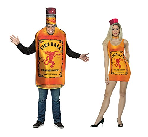 Adult Size Fireball Cinnamon Whiskey Costumes - Fireball Bottle & Fireball Tank Dress