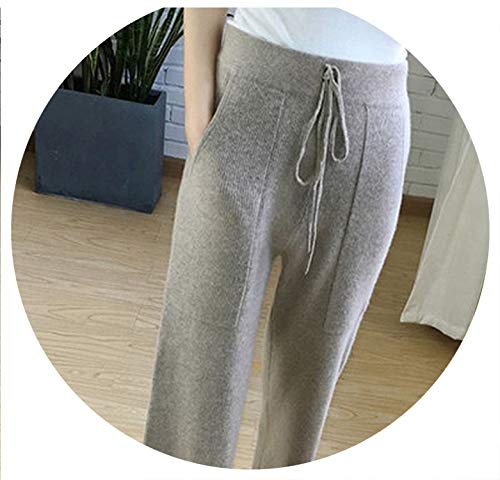 Winter Soft Cashmere Camel Pants Pure Knitted Wide Leg Pants Casual Loose Knitted Pants Women,Light Grey,L ()