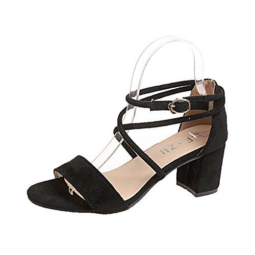 Mujer Sandalias Boda Fiesta Shoes Altos Sandalias 9518 Tacones Negro Square Zapatos Señoras Señoras JUWOJIA Sandalias Verano para Heel zIZIq