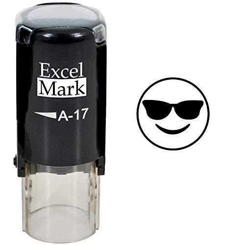 Self Inking Stamper (Round Teacher Stamp - Cool Shades Emoji - Black)