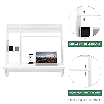 WLIVE Wall Mounted Desk with Storage Shelves, Computer Table for Home, Office, Stable and Durable Floating Kitchen Dining Desk, White