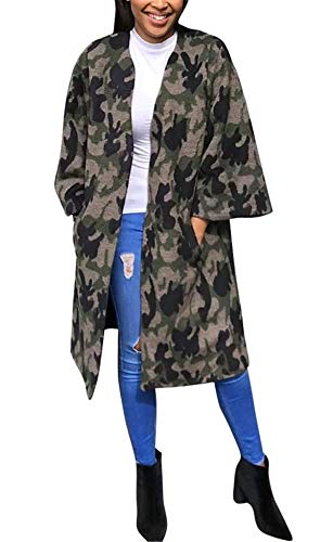 Antique Style Women's Casual Military Camo Print Lightweight Open Front Outwear Coat Camouflage Longline Overcoat Safari Jacket Party Club Dress Gray L
