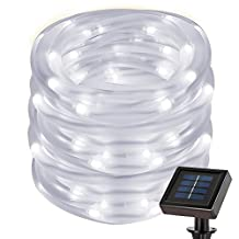 LE 7m/22.97ft 50 LEDs Solar Rope String Lights, Waterproof IP55, 6000K Daylight White, Portable, with Light Sensor, Two Light Modes, Outdoor Rope Lights
