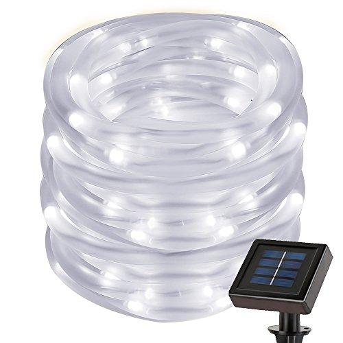 LE 22.97ft Solar Rope String Lights, Waterproof IP55, 50 LED, 6000K Daylight White, Light Sensor, 2 Light Modes,...