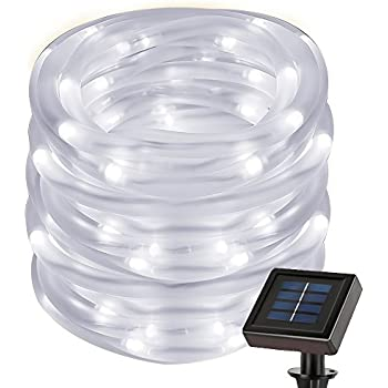 Amazon solar rope lights outdoor decorations light 100 pure le 2297ft solar rope string lights waterproof ip55 50 led 6000k daylight mozeypictures Choice Image