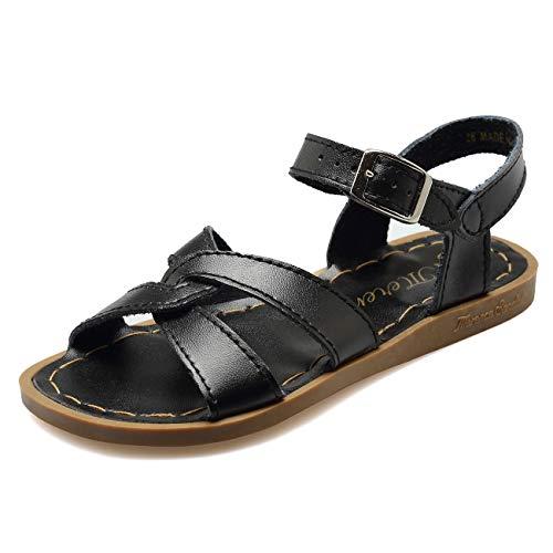 WALUCAN Girl's Leather Sandals Open-Toe Adjustable Flat Sandal Casual Shoes Outdoor and Indoor (Toddler/Little Kid/Big Kid/Women's) Black