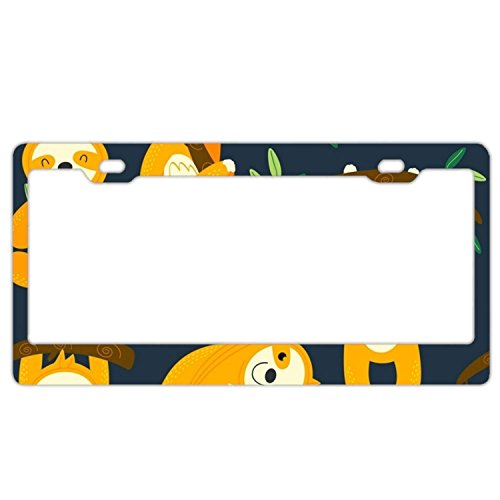 (YEX Abstract Yellow Sloth License Plate Frame Car Tag Frame Auto License Plate Holder 12