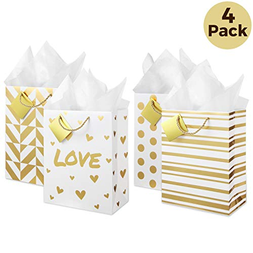 - Large Metallic Gold Gift Bags (Set of 4, Assorted Designs) Tissue Paper Included! Rope Style Handles, Gift Card, Cute Present Bag for Welcome Gift, Wedding, Anniversary, Birthday, Christmas, Holiday