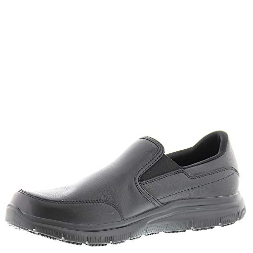 On Bronwood Skechers Resistant Mens Advantage Leather Flex Black Slip Shoes HBYrHS