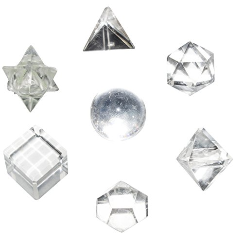 Crocon Clear Quartz 7 Pcs Platonic Solid Sacred Stones Geometric Set for Meditation Crystal Healing Grids