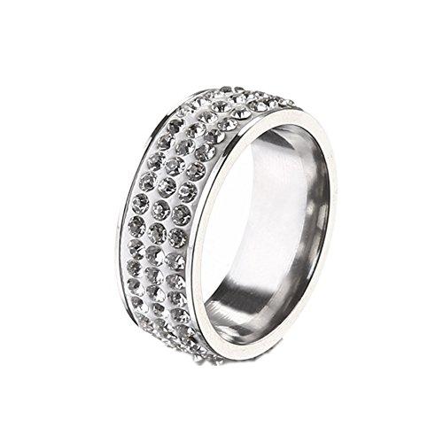 925 Sterling Silver Plated CZ Three rows of Diamond rhinestones Women Band Ring,Size 9 Diamond Three Row Ring
