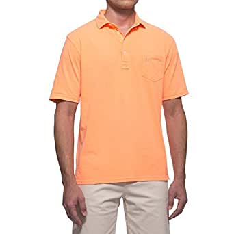Johnnie O Men's Johnnie Garment Dyed Original 4-Button Polo - Neon Orange -S