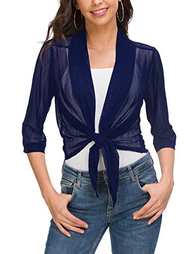 Women's Cardigan Loose Sweater 3/4 Sleeve Knitted Outwear Jacket Navy Blue
