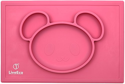 LiveEco Silicone Placemat and Tray for Babies, Infants, Toddlers and Kids | Suctions To Table | Safe Non-toxic Food Grade Silicone - BPA, PVC, Lead and Phthalate Free (Pink)