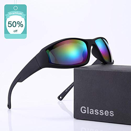 Polarized Motorcycle Riding Glasses Goggles Sunglasses for Men and Women Ski Goggles Adjustable UV Protective Windproof Dustproof Anti Fog Sports Sunglasses - Wraparound Frame - Case ()