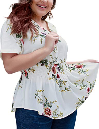Pleated Sleeve Floral Top - EverChic Women's Summer Plus Size Deep V Neck Pleated Half Sleeve Ruched Promenade Tops (White Floral, 4XL)