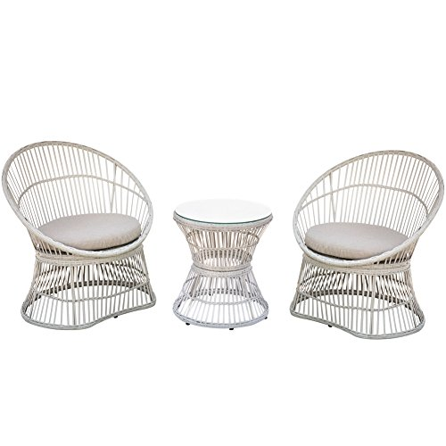 418zR6xEjHL - PatioPost Patio Furniture Set 3 Pcs Outdoor Garden Wicker Chairs With Table/Cushions Conversation Set Hollow Base