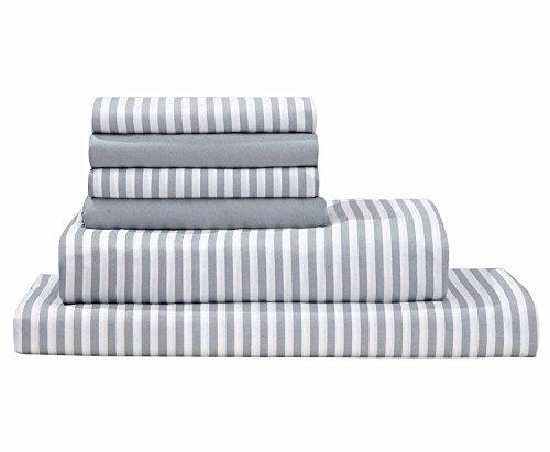 Full Awning - Debra Valencia Awning Striped Sheets By Duke-Full-Med Cool Gray/White-6 Pc Set 2 Bonus pillowcases!