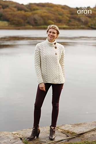 Asymmetrical Irish Multi Cable Wool Cardigan (Asymmetrical Wool Sweater)