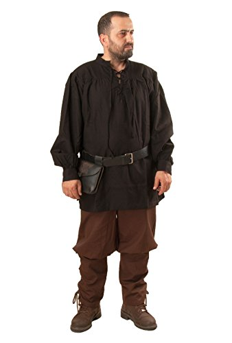 Hermes Medieval Viking LARP Pirate Cotton Man Shirt - Made in Turkey-Blc-2XL