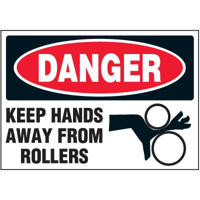 Polyester Keep Hands Away From Rollers Label - 3-1/2