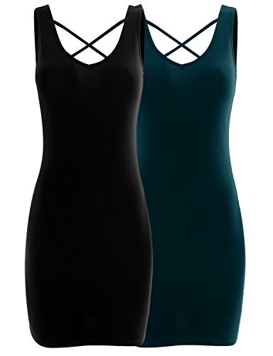 Tunic Top Set - AIMA Women's Cross Neck Classic Extra Long Ultra Stretch Opaque Tunic Tank Top Set Black/Teal XXX-Large