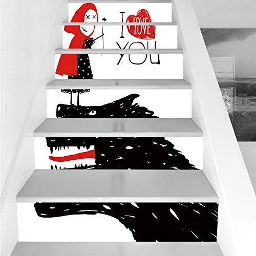 Stair Stickers Wall Stickers,6 PCS Self-adhesive,Quirky Decor,Little Red Riding Hood Loves Bad Horrible Wolf Plot Twist Fairytale Art,Red Black White,Stair Riser Decal for Living Room, Hall, Kids Room