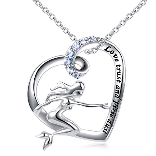 S925 Sterling Silver Rusalochka Love Trust Pixie Dust Daughter of The Sea Mermaid Pendant Necklace for Girls 18