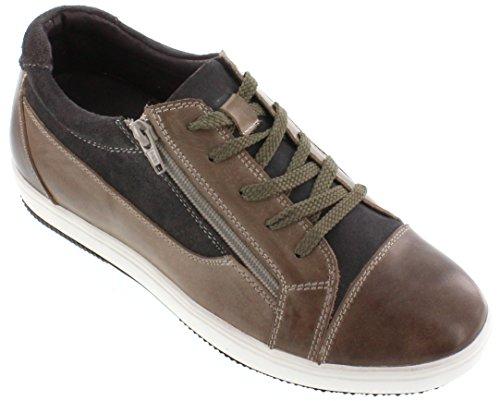 G-CALTO 3609-6,10 (2,4)-Tappetto cm, altezza aumentare ascensore scarpe, colore: grigio, stile Casual, con lacci, colore: marrone