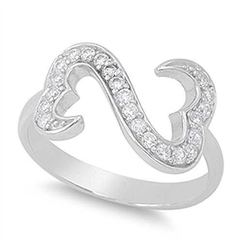 Sterling Silver Women's Flawless Colorless Cubic Zirconia Infinity Pave Open Heart Ring (Sizes 5-10) (Ring Size 10)