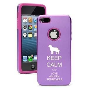 Diy Yourself Apple iPhone 5c Purple Aluminum & Silicone case cover Keep JKrV0UfojIM Calm And Love Golden Retrievers