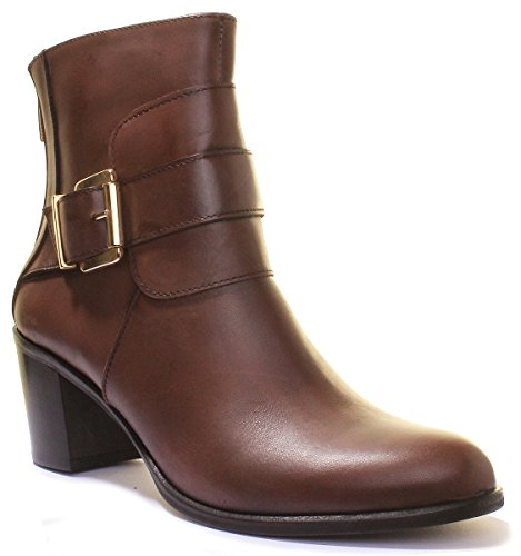 Justin Reece Womens Made in Italy Leather Ankle Mid Heel Formal Boots Brown jFbZX