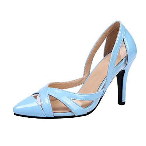 (KIKIVA Women Patent Leather Pointed Toe Pumps Stiletto Cut Out Court Shoes,10.5 M US,Sky Blue)