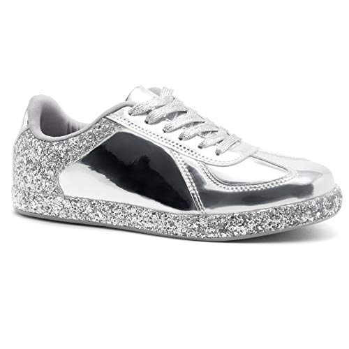 (Herstyle Women's City Glitzy Glitter Metallic Fashion Sneaker with lace Upper Silver 8.0)