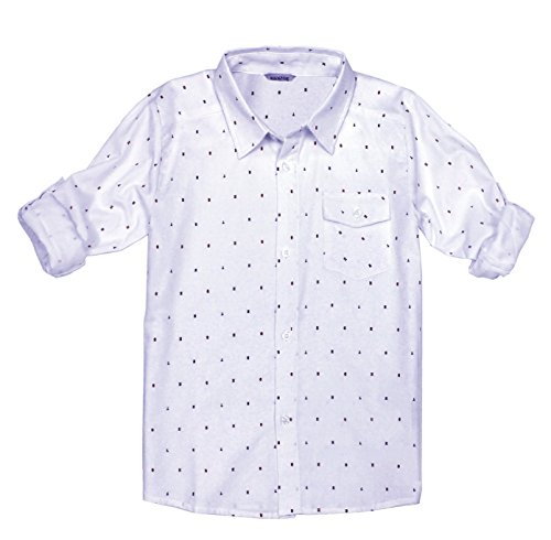 Bienzoe Boys Printed Cotton Roll Up Button Down White Sports Shirts 13/14 ()