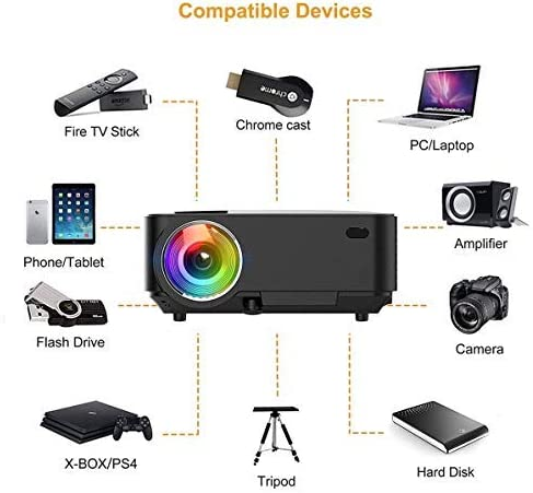XINDA Proyector de vídeo, proyector 720P de 2800 lúmenes con cable ...