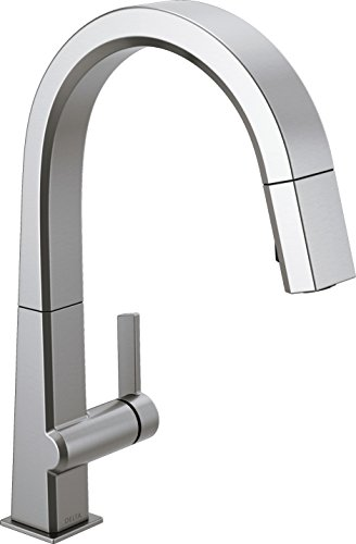 Delta Faucet Pivotal Single-Handle Kitchen Sink Faucet with Pull Down Sprayer and Magnetic Docking Spray Head, Arctic Stainless 9193-AR-DST (Delta 1 Handle)