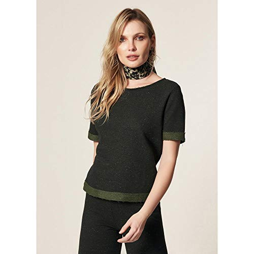 T-Shirt Moletom Decote Canoa Verde Musgo - P