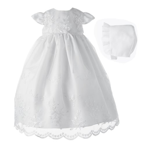 Lauren Madison Baby-Girls Newborn Christening Baptism Special Occasion Organza Floral Embroidered Dress Gown Outfit with Pearl Trim., White, 9-12 Months by Lauren Madison
