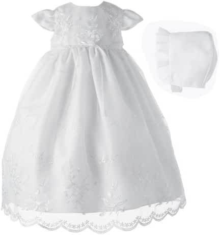 Lauren Madison Baby-Girls Newborn Organza Floral Embroidered Dress Gown Outfit