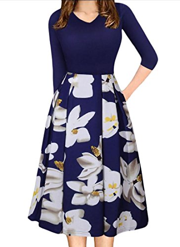 V Coolred Daily Sleeve Womens 3 Floral Dress Pullover 4 Neck Printed Blue FpHw1qp