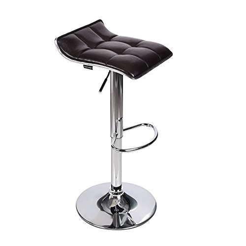 Adjustable Swivel Barstools, PU Leather with Chrome Base, Counter Height Hydraulic Pub Kitchen Counter Chairs, Dark Brown Dining Room Rectangular Bar Stool