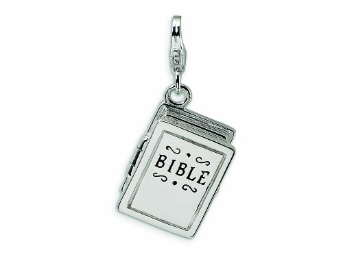 Opening Bible Charm (Amore LaVita Sterling Silver 3-D Enameled Opening Bible Lobster Clasp Charm (Moveable) for Charm Bracelet)
