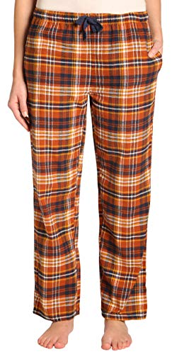 Pants Striped Pajama Flannel (EVERDREAM Sleepwear Womens Flannel Pajama Pants, Long 100% Cotton Pj Bottoms,Size XX-Large Rust)