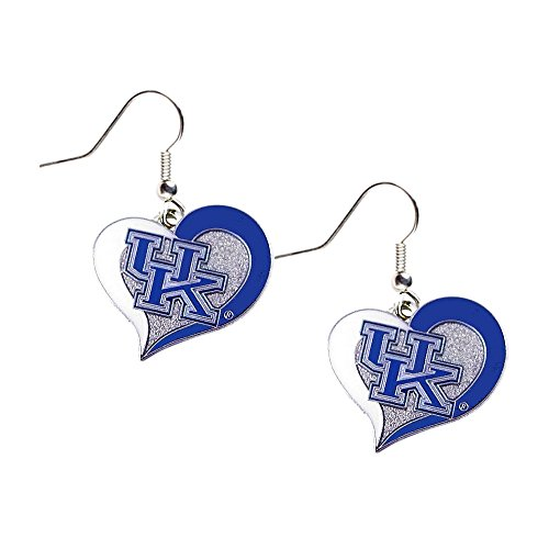Kentucky Wildcats Heart - aminco Kentucky Wildcats UK Swirl Heart Dangle Logo Earring Set Charm Gift NCAA